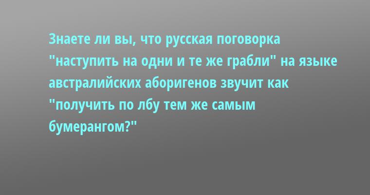 Знаете ли вы, что русская поговорка