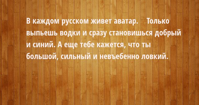 В каждом русском живет аватар.    Только выпьешь водки и сразу становишься добрый и синий. А еще тебе кажется, что ты большой, сильный и невъебенно ловкий.