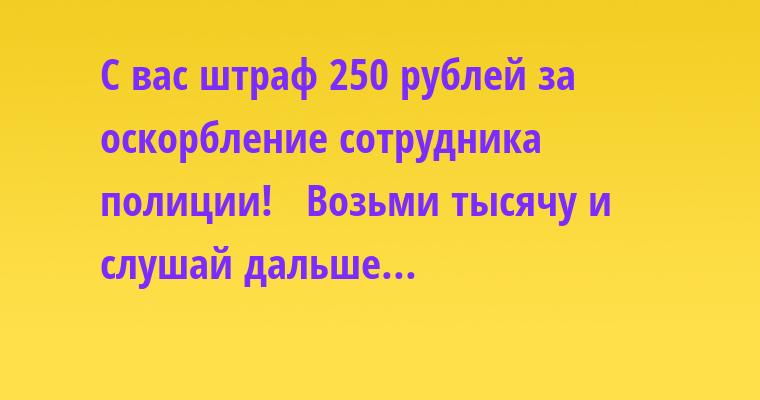 —  С вас штраф 250 рублей за оскорбление сотрудника полиции!  —  Возьми тысячу и слушай дальше...