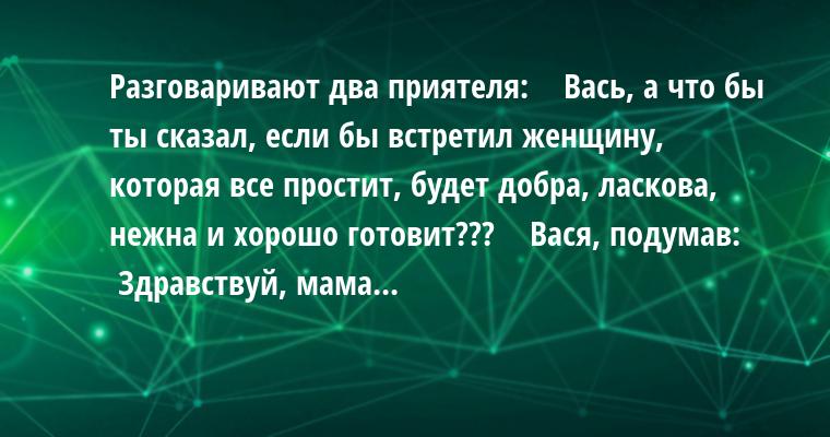 Разговаривают два приятеля:    — Вась, а что бы ты сказал, если бы встретил женщину, которая все простит, будет добра, ласкова, нежна и хорошо готовит???    Вася, подумав:    — Здравствуй, мама...