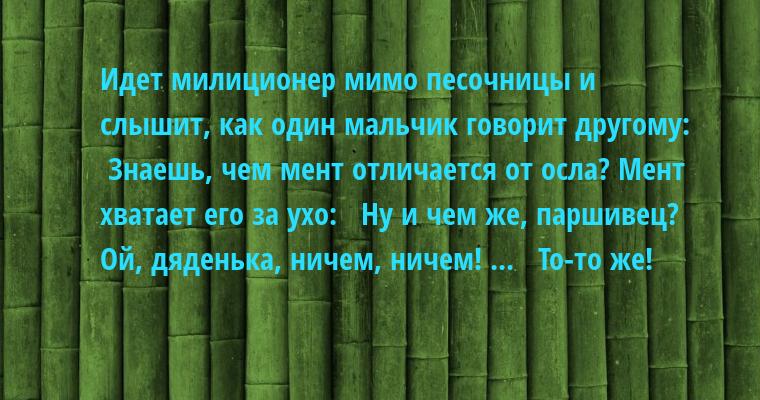 Идет милиционер мимо песочницы и слышит, как один мальчик говорит другому:  —  Знаешь, чем мент отличается от осла? Мент хватает его за ухо:  —  Ну и чем же, паршивец?  —  Ой, дяденька, ничем, ничем! ...  —  То-то же!