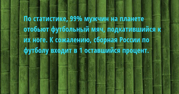 По статистике, 99% мужчин на планете отобьют футбольный мяч, подкатившийся к их ноге. К сожалению, сборная России по футболу входит в 1 оставшийся процент.