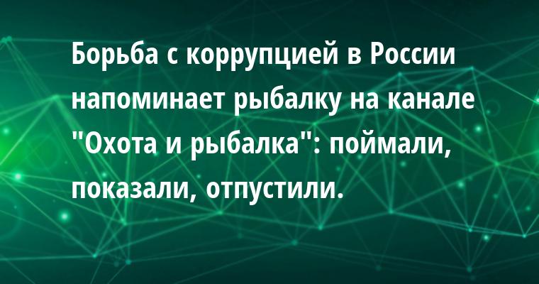 Борьба с коррупцией в России напоминает рыбалку на канале