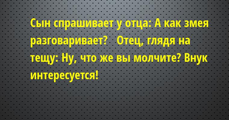 Сын спрашивает у отца: — А как змея разговаривает?   Отец, глядя на тещу: — Ну, что же вы молчите? Внук интересуется!