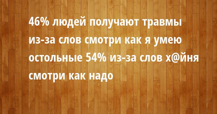 46% людей получают травмы из-за слов смотри как я умею остольные 54% из-за слов х@йня смотри как надо