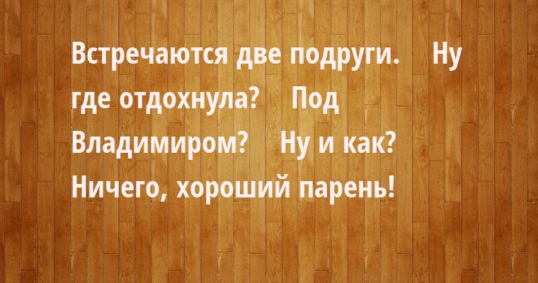 Встречаются две подруги.    — Ну где отдохнула?    — Под Владимиром?    — Ну и как?    — Ничего, хороший парень!