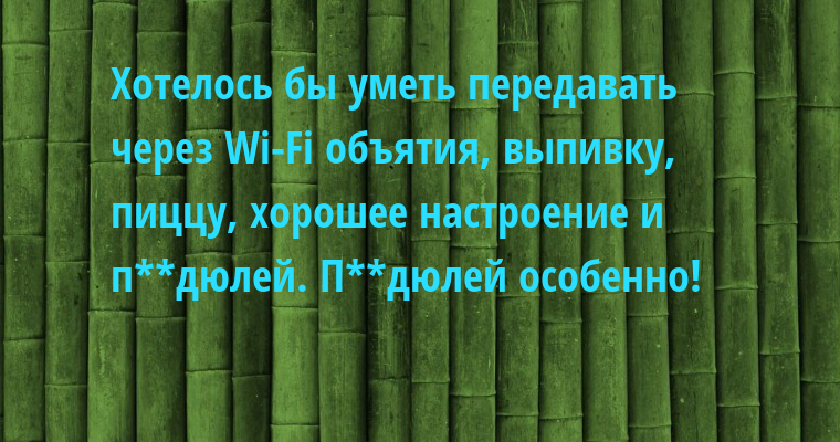 Хотелось бы уметь передавать через Wi-Fi объятия, выпивку, пиццу, хорошее настроение и п**дюлей. П**дюлей особенно!