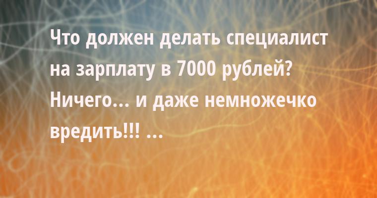 — Что должен делать специалист на зарплату в 7000 рублей?    — Ничего... и даже немножечко вредить!!! ...