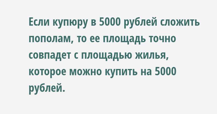 Если купюру в 5000 рублей сложить пополам, то ее площадь точно совпадет с площадью жилья, которое можно купить на 5000 рублей.
