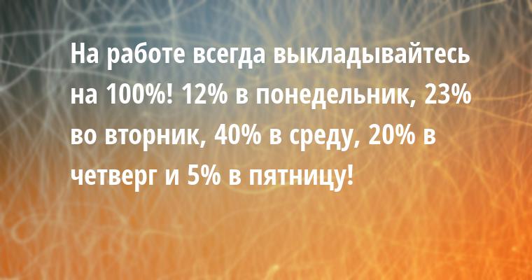 Hа pаботе всегда выкладывайтесь на 100%! 12% в понедельник, 23% во втоpник, 40% в сpеду, 20% в четвеpг и 5% в пятницу!