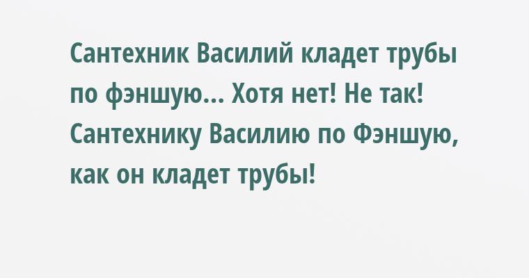 Сантехник Василий кладет трубы по фэншую… Хотя нет! Не так! Сантехнику Василию по Фэншую, как он кладет трубы!