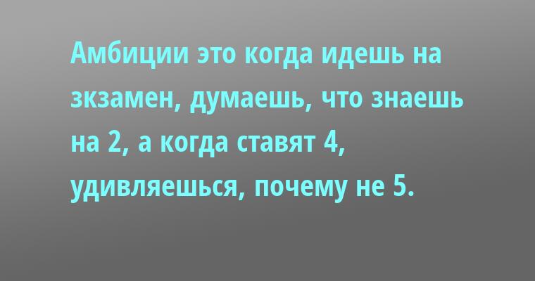 Амбиции — это когда идешь на зкзамен, думаешь, что знаешь на 2, а когда ставят 4, удивляешься, почему не 5.