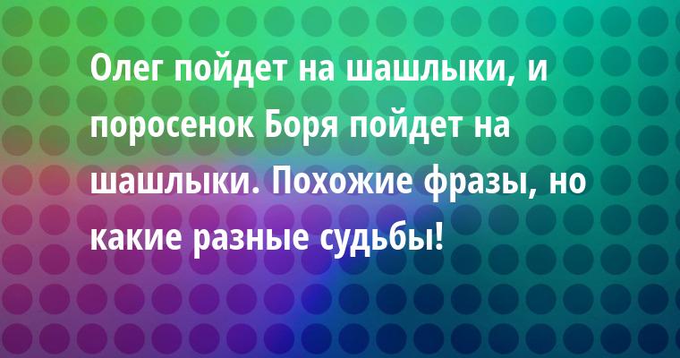 Олег пойдет на шашлыки, и поросенок Боря пойдет на шашлыки. Похожие фразы, но какие разные судьбы!