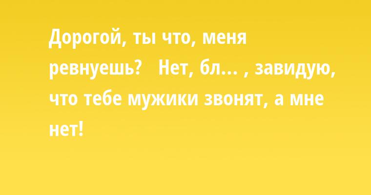 — Дорогой, ты что, меня ревнуешь?   — Нет, бл... , завидую, что тебе мужики звонят, а мне — нет!