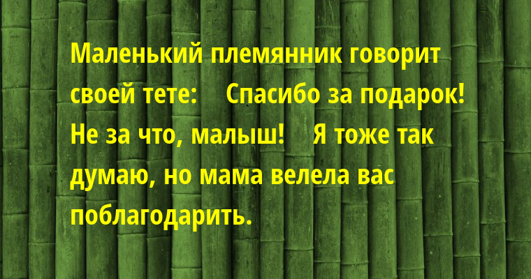 Маленький племянник говорит своей тете:    — Спасибо за подарок!    — Не за что, малыш!    — Я тоже так думаю, но мама велела вас поблагодарить.