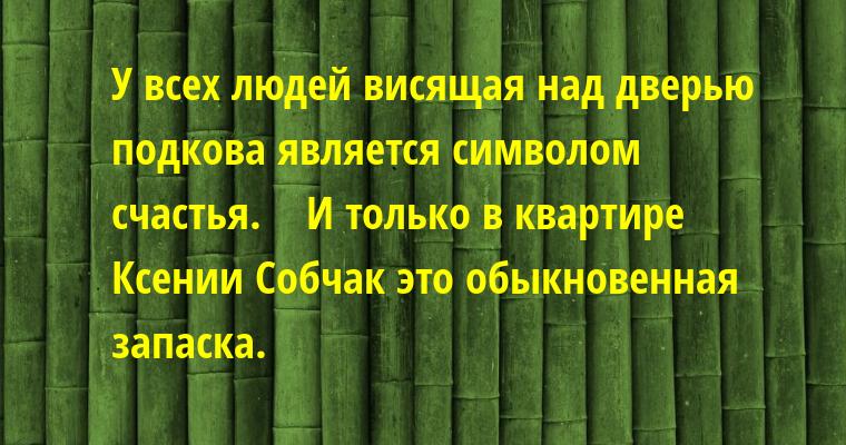 У всех людей висящая над дверью подкова является символом счастья.    И только в квартире Ксении Собчак — это обыкновенная запаска.