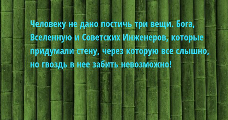 Человеку не дано постичь три вещи. Бога, Вселенную и Советских Инженеров, которые придумали стену, через которую все слышно, но гвоздь в нее забить невозможно!