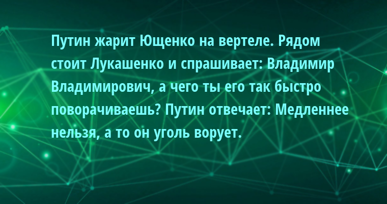Путин жарит Ющенко на вертеле. Рядом стоит Лукашенко и спрашивает: — Владимир Владимирович, а чего ты его так быстро поворачиваешь? Путин отвечает: — Медленнее нельзя, а то он уголь ворует.
