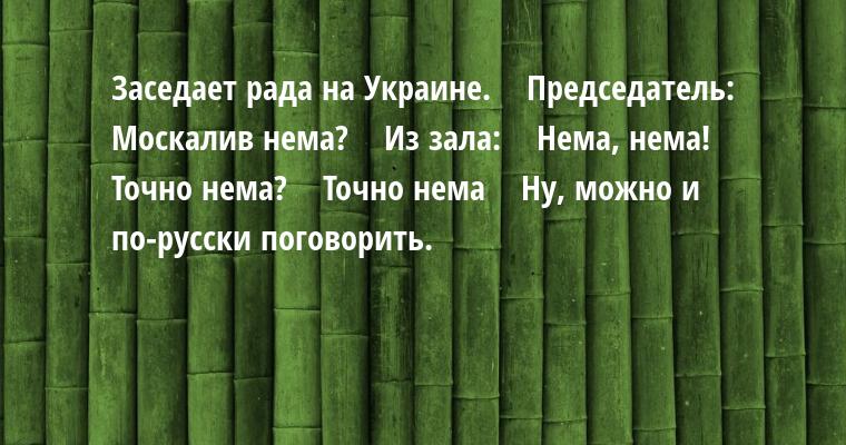 Заседает рада на Украине.    Председатель:    - Москалив нема?    Из зала:    - Нема, нема!    - Точно нема?    - Точно нема    - Ну, можно и по-русски поговорить.