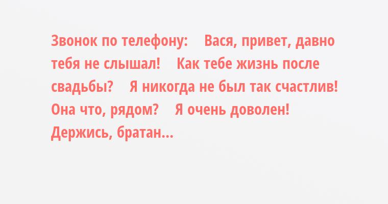 Звонок по телефону:    — Вася, привет, давно тебя не слышал!    Как тебе жизнь после свадьбы?    — Я никогда не был так счастлив!    — Она что, рядом?    — Я очень доволен!    — Держись, братан...