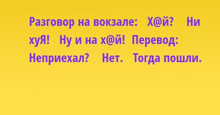 Разговор на вокзале:  —  Х@й?   —  Ни хуЯ!  —  Ну и на х@й!  Перевод:   —  Неприехал?   —  Нет.  —  Тогда пошли.