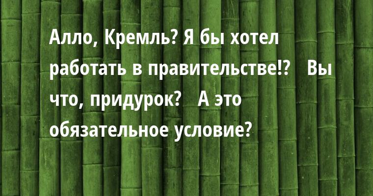 —  Алло, Кремль? Я бы хотел работать в правительстве!?  —  Вы что, придурок?  —  А это обязательное условие?