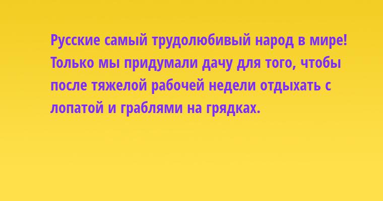 Русские — самый трудолюбивый народ в мире! Только мы придумали дачу для того, чтобы после тяжелой рабочей недели отдыхать с лопатой и граблями на грядках.