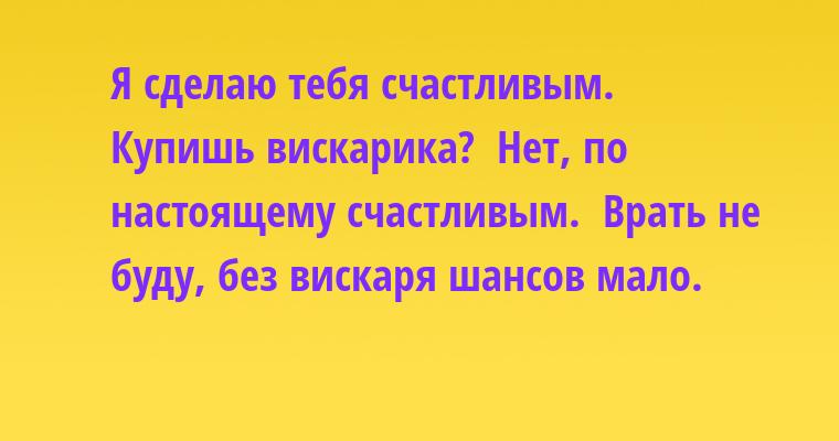 —  Я сделаю тебя счастливым. —  Купишь вискарика? —  Нет, по настоящему счастливым. —  Врать не буду, без вискаря шансов мало.