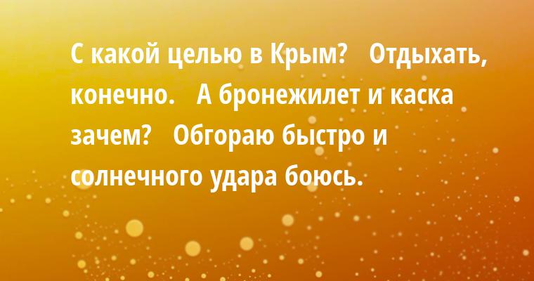 —  С какой целью в Крым?  —  Отдыхать, конечно.  —  А бронежилет и каска зачем?  —  Обгораю быстро и солнечного удара боюсь.