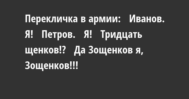 Перекличка в армии:   — Иванов.   — Я!   — Петров.   — Я!   — Тридцать щенков!?   — Да Зощенков я, Зощенков!!!