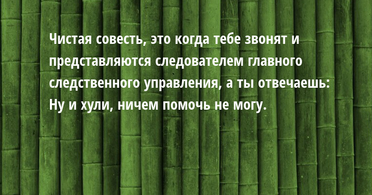 Чистая совесть, — это когда тебе звонят и представляются следователем главного следственного управления, а ты отвечаешь:    — Ну и хули, ничем помочь не могу.