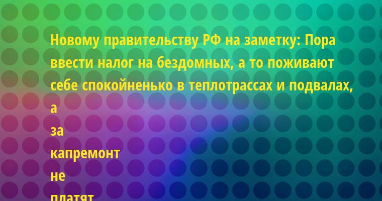 Новому правительству РФ на заметку: Пора ввести налог на бездомных, а то поживают себе спокойненько в теплотрассах и подвалах, а за капремонт не платят.