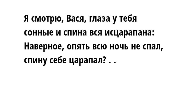 Я смотрю, Вася, глаза у тебя сонные и спина вся исцарапана: Наверное, опять всю ночь не спал, спину себе царапал? . .