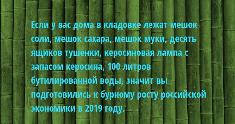 Если у вас дома в кладовке лежат мешок соли, мешок сахара, мешок муки, десять ящиков тушенки, керосиновая лампа с запасом керосина, 100 литров бутилированной воды, значит вы подготовились к бурному росту российской экономики в 2019 году.