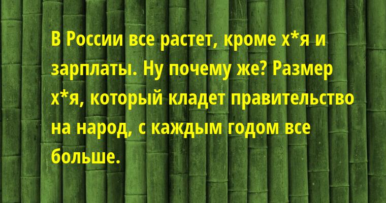 — В России все растет, кроме х*я и зарплаты. — Ну почему же? Размер х*я, который кладет правительство на народ, с каждым годом все больше.