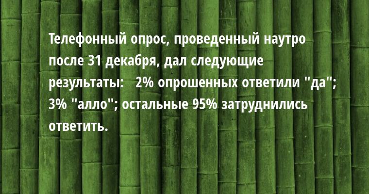 Телефонный опрос, проведенный наутро после 31 декабря, дал следующие результаты:   2% опрошенных ответили