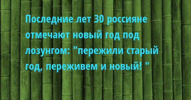 Последние лет 30 россияне отмечают новый год под лозунгом: